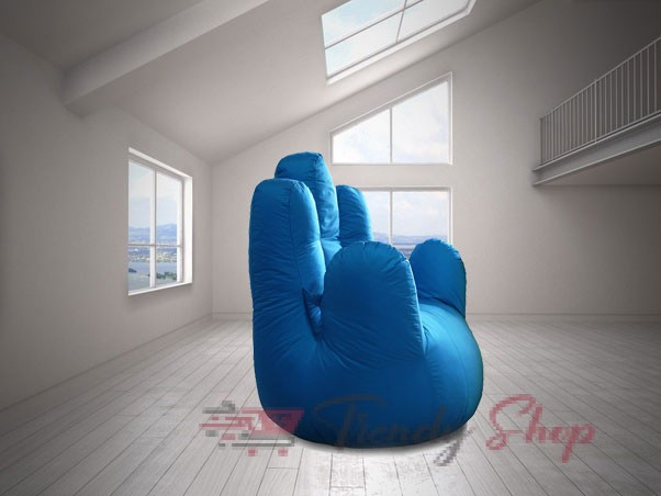 Hand Shape Bean Bag Sofa Sky Blue