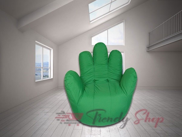 Hand Shape Bean Bag Green